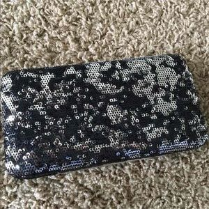 Black & Silver Sequin Clutch Wallet